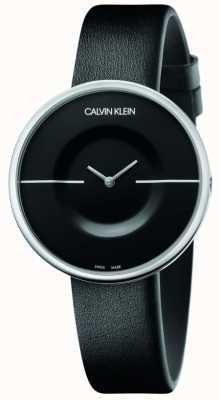 Calvin Klein Mania   pulseira de couro preto feminino   mostrador preto KAG231C1