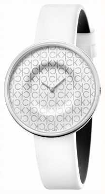 Calvin Klein Mania   pulseira de couro branco para senhora   mostrador branco KAG231LX