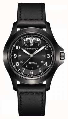 Hamilton Rei do campo Khaki | pulseira de couro preta | mostrador preto H64465733
