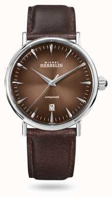 Michel Herbelin Inspiração automática   pulseira de couro marrom dos homens   mostrador marrom 1647/AP27