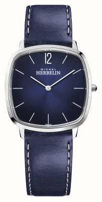 Michel Herbelin Cidade   pulseira de couro azul para homem   mostrador azul 16905/15BL