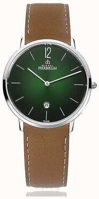 Michel Herbelin Cidade   pulseira de couro marrom dos homens   mostrador verde 19515/16NGO