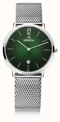 Michel Herbelin Cidade   pulseira de malha de aço para homem   mostrador verde 19515/16NB