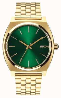 Nixon Caixa de tempo | raio de sol dourado / verde | pulseira de ouro ip aço | mostrador verde A045-1919-00