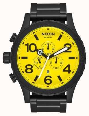 Nixon 51-30 crono | todo preto / amarelo | pulseira de aço ip preto | mostrador amarelo A083-3132-00