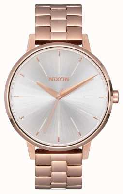 Nixon Kensington   ouro rosa / branco   ross gold ip bracelet   mostrador prateado A099-1045-00