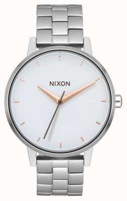 Nixon Kensington   prata / branco / ouro rosa   pulseira de aço inoxidável   mostrador branco A099-3029-00