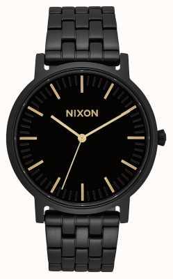 Nixon Porter | todo preto / dourado | pulseira de aço ip preto | mostrador preto A1057-1031-00