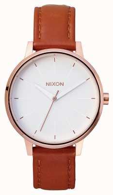 Nixon Couro Kensington   ouro rosa / branco   pulseira de couro marrom   mostrador branco A108-1045-00