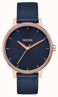 Nixon Couro Kensington | marinha / ouro rosa | pulseira de couro azul | mostrador azul A108-2195-00