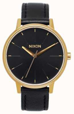 Nixon Couro Kensington   ouro / preto   pulseira de couro preta   mostrador preto A108-513-00