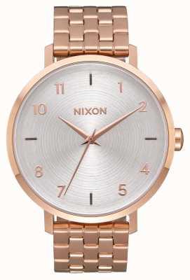 Nixon Arrow   todo ouro rosa / branco   pulseira de aço ip em ouro rosa   mostrador prateado A1090-2640-00