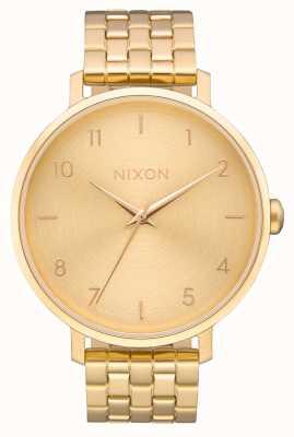 Nixon Arrow   todo ouro   pulseira de ouro ip aço   mostrador de ouro A1090-502-00