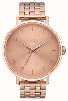 Nixon Arrow   todo ouro rosa   pulseira de aço ip em ouro rosa   mostrador de ouro rosa A1090-897-00