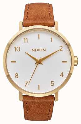 Nixon Couro seta   ouro / branco / sela   pulseira de couro marrom   mostrador branco A1091-2621-00