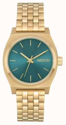 Nixon Caixa de tempo médio | ouro claro / turquesa | pulseira de ouro ip aço A1130-2626-00