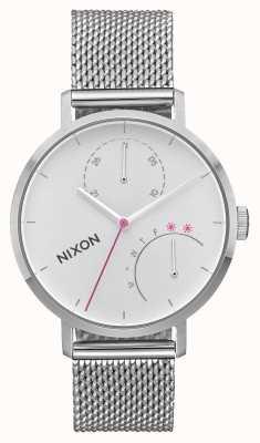 Nixon Embreagem   toda prata   malha de aço inoxidável   mostrador branco A1166-1920-00