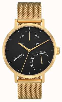 Nixon Embreagem | ouro / preto | malha de aço ip ouro | mostrador preto A1166-513-00