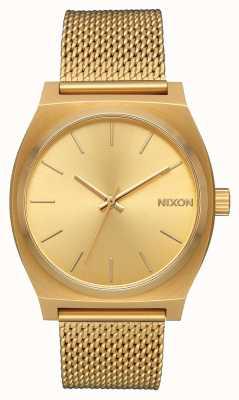 Nixon Caixa de tempo milanês   todo ouro   malha de aço ip ouro   mostrador de ouro A1187-502-00