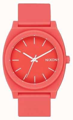 Nixon Caixa de tempo p   coral fosco   pulseira de silicone coral   mostrador coral A119-3013-00