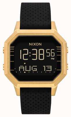 Nixon Siren ss   ouro / preto lh   digital   pulseira de silicone preta A1211-2970-00