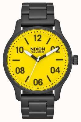 Nixon Patrol | todo preto / amarelo | pulseira de aço ip preto | mostrador amarelo A1242-3132-00