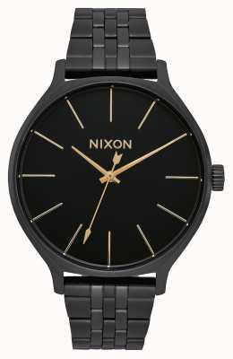 Nixon Clique   tudo preto   pulseira de aço ip preto   mostrador preto A1249-001-00
