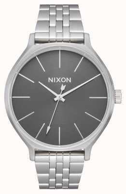 Nixon Clique   todo prateado / cinza   pulseira de aço inoxidável   mostrador prateado A1249-2762-00
