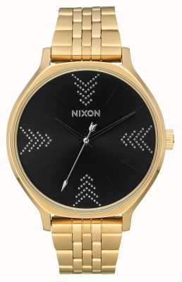 Nixon Clique   ouro / preto / prata   pulseira de ouro ip aço   mostrador preto A1249-2879-00