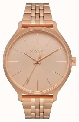 Nixon Clique | todo ouro rosa | pulseira de aço ip em ouro rosa | mostrador de ouro rosa A1249-897-00