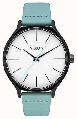 Nixon Couro Clique   preto / menta   pulseira de couro verde menta   mostrador branco A1250-3317-00