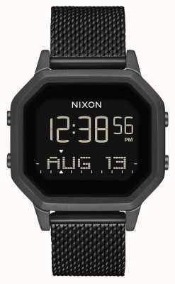 Nixon Siren milanese | tudo preto | digital | malha de aço ip preta | A1272-001-00