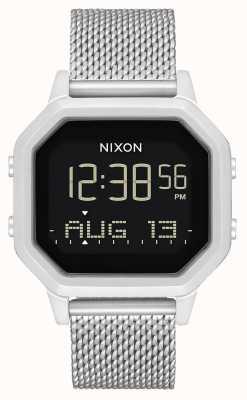 Nixon Siren milanese | toda prata | digital | pulseira de malha de aço inoxidável A1272-1920-00