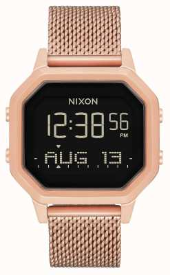 Nixon Siren milanese   todo ouro rosa   digital   malha de aço ip ouro rosa   A1272-897-00