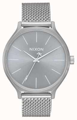 Nixon Clique milanês   toda prata   pulseira em malha de aço inoxidável   mostrador prateado A1289-1920-00