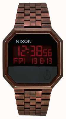 Nixon Executar novamente | cobre antigo | digital | pulseira de aço ip em cobre A158-894-00