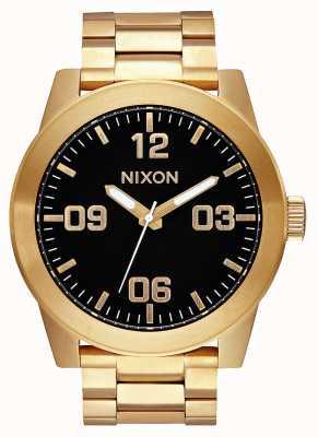 Nixon Corporal ss | todo ouro / preto | pulseira de ouro ip aço | mostrador preto A346-510-00