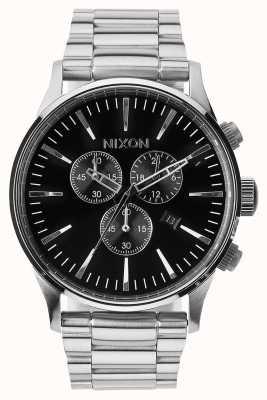 Nixon Sentinela crono | preto | pulseira de aço inoxidável | mostrador preto A386-000-00