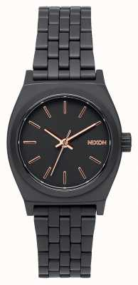 Nixon Pequeno contador de tempo   todo preto / ouro rosa   pulseira de aço ip preto   mostrador preto A399-957-00