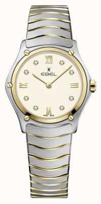 EBEL Clássico do esporte feminino | pulseira de aço inoxidável bicolor | mostrador de marfim 1216418A