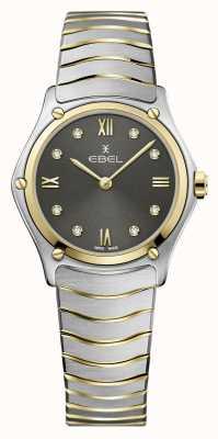 EBEL Clássico do esporte feminino | pulseira de aço bicolor | mostrador de diamante cinza 1216419A