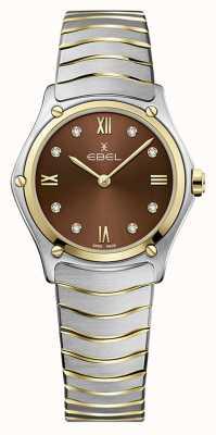 EBEL Clássico do esporte feminino | pulseira de aço inoxidável bicolor | mostrador marrom 1216445A