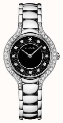 EBEL Beluga das mulheres | pulseira de aço inoxidável | mostrador preto | conjunto de diamantes 1216466