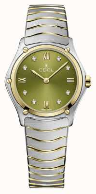 EBEL Clássico do esporte feminino | pulseira de aço bicolor | mostrador verde 1216473A