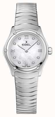 EBEL Clássico do esporte feminino | pulseira de aço inoxidável | mostrador de diamante prateado 1216474A