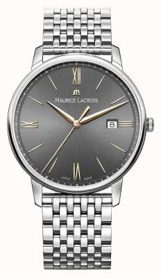 Maurice Lacroix Eliros masculino | pulseira de aço inoxidável | mostrador preto / cinza EL1118-SS002-311-2