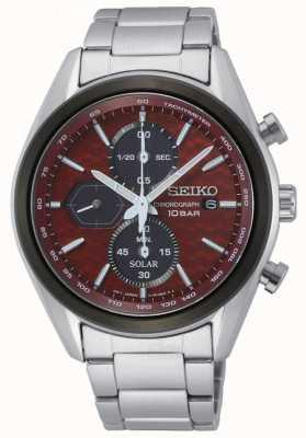 Seiko Solar masculino   pulseira de aço inoxidável   mostrador cronógrafo vermelho SSC771P1