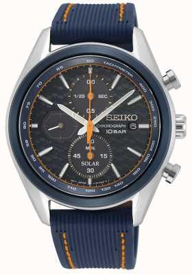 Seiko Solar masculino   pulseira de silicone azul   mostrador cronógrafo azul SSC775P1