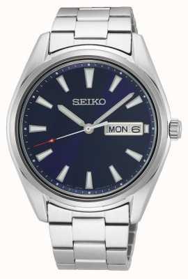 Seiko Pulseira masculina de aço inoxidável   mostrador azul SUR341P1