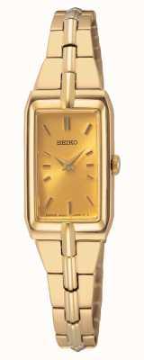Seiko Pulseira feminina em aço dourado | mostrador de ouro SWR048J8